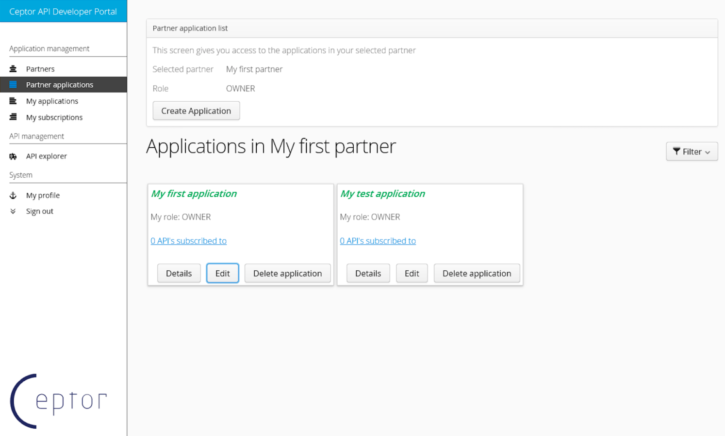 Partner Application Screen