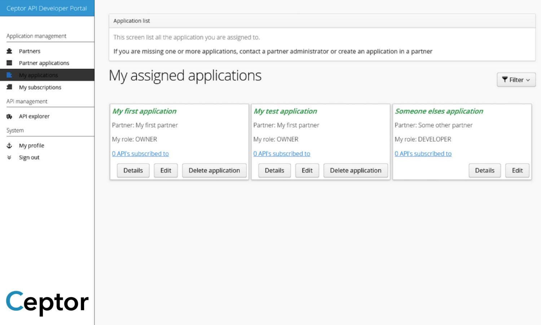 My Application Screen