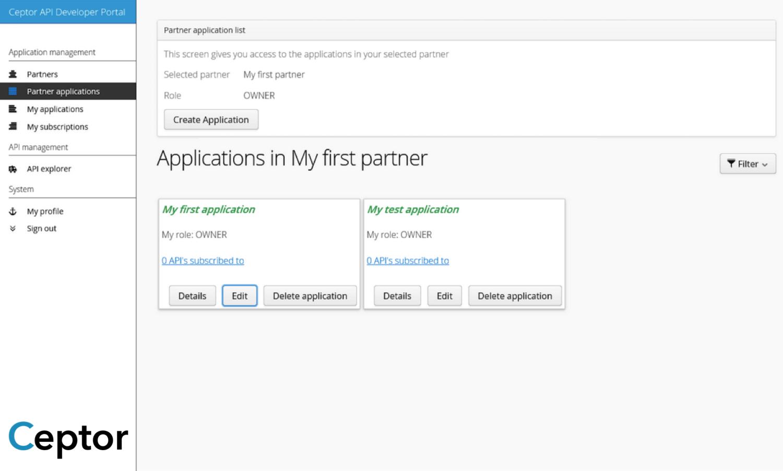 Partner Application Screen